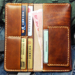 Vintage Brown Leather Bifold Mens Long Wallet Leather Long Wallets for Men