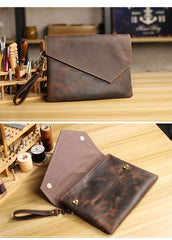 Vintage Business Leather Mens Black Envelope Bag Document Purse Dark Brown Clutch For Men