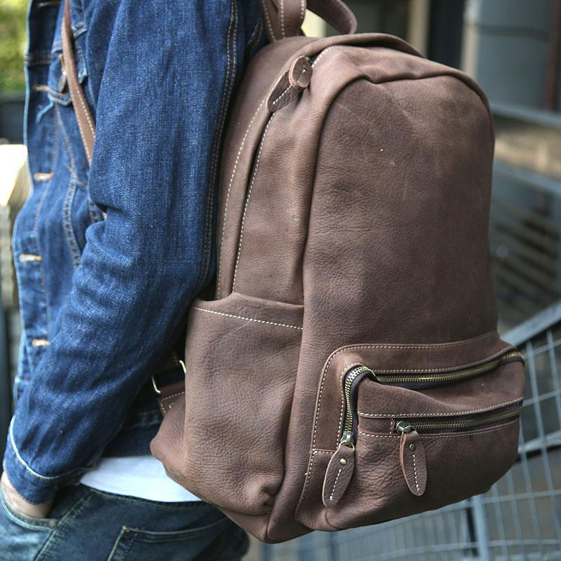 Vintage Coffee Leather Mens Backpacks Travel Backpacks Laptop Backpack for men