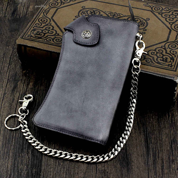 Vintage Gray Leather Men's Biker Chain Wallet Biker Wallet with Chain Long Chain Wallet For Men