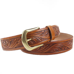 Handmade Vintage Yellow Brown Floral Tooled Leather Mens Belt Carved Leather Belt for Men