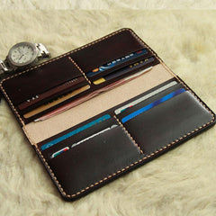 Vintage Leather Coffee Bifold Mens Long Wallets Leather Long Wallets for Men
