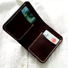 Vintage Leather Coffee Mens Small Wallet Leather Bifold Wallets for Men