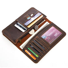Vintage Brown Mens Leather Long Wallet Bifold Coffee Long Wallet for Men
