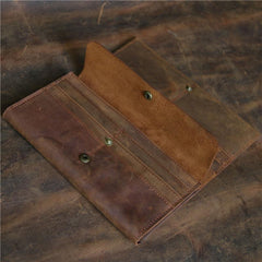 Vintage Brown Mens Bifold Leather Long Wallet Bifold Long Wallet for Men
