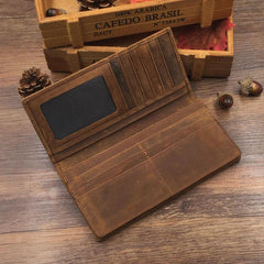 Vintage Leather Mens Brown Long Wallet Bifold Long Wallet for Men