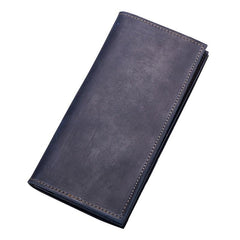 Vintage Mens Black Mens Leather Long Wallet Bifold Coffee Wallet for Men