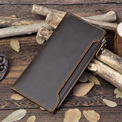 Vintage Coffee Bifold Mens Leather Long Wallet Cool Coffee Long Wallet for Men