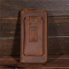 Vintage Brown Mens Leather Long Wallet Bifold Zipper Long Wallet for Men