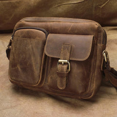 Vintage Leather Men Brown Small Messenger Bag Shoulder Bag Small Side Bag For Men