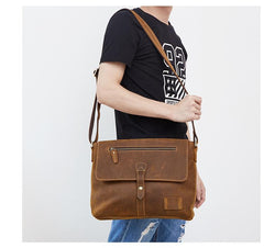 Vintage Leather Mens Brown Messenger Bag Shoulder Bag Side Bag For Men