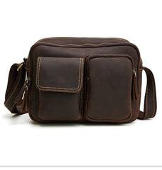 Cool Brown Leather Mens Small Messenger Bags Shoulder Bag Small CrossBody Bags For Men