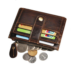 Vintage Leather Brown Mens Front Pocket Wallet Slim Small Wallet for Men