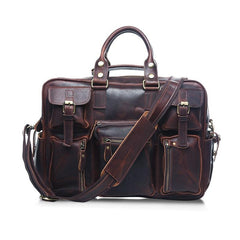 Vintage Leather Mens Large Professional Briefcase Brown Handbag Weekender Bag Travel Bag