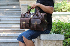 Vintage Brown Leather Large Mens Briefcase Weekender Bag Travel Bag Duffle Bag
