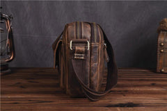 Vintage Brown Mens Leather Side Bag Messenger Bag Brown Shoulder Bag For Men