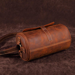 Vintage Brown Leather Barrel Messenger Bag Bucket Side Bag Shoulder Bag For Men