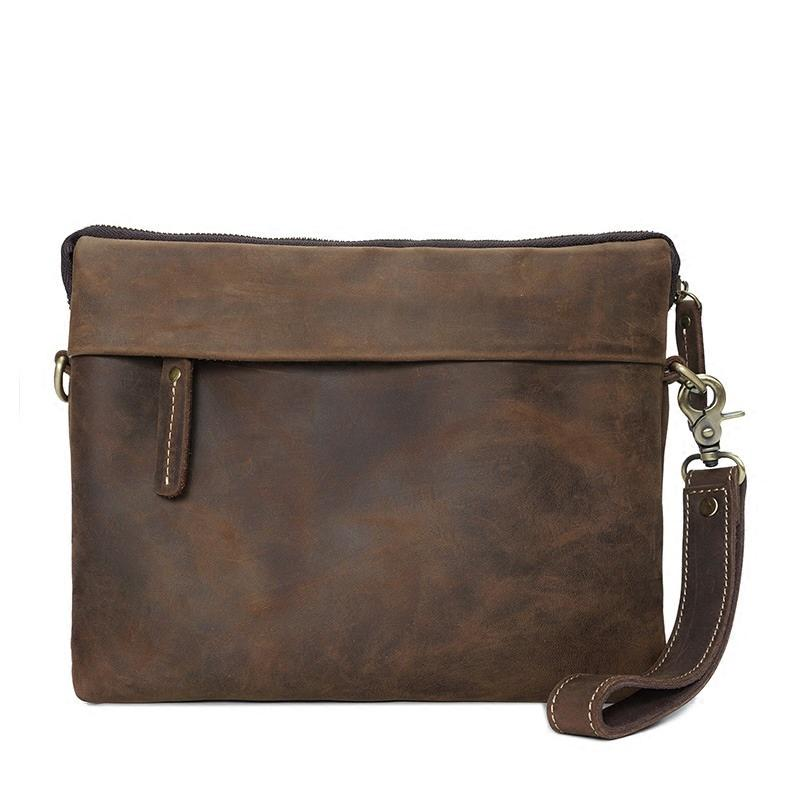 Leather Mens Brown Cool Small Messenger Bags Vintage Side