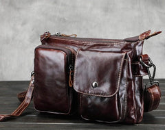 Leather Mens Coffee Cool Small Messenger Bag Vintage Small Side Bags For Men