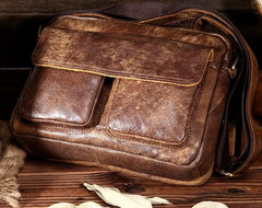 Vintage Brown Mens Leather Small Side Bag Brown Messenger Bag Shoulder Bag For Men