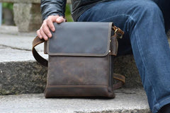 Cool Leather Mens Small Messenger Bag Vintage Shoulder Bag For Men