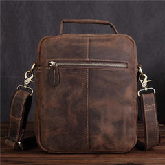 Vintage Brown Mens Leather Small Messenger Bag Vertical Side Bag For Men