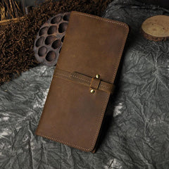 Vintage Brown Mens Leather Long Wallet Bifold Slim Long Wallet for Men