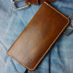 Vintage Tan Leather Bifold Mens Long Wallet Leather Long Wallets for Men