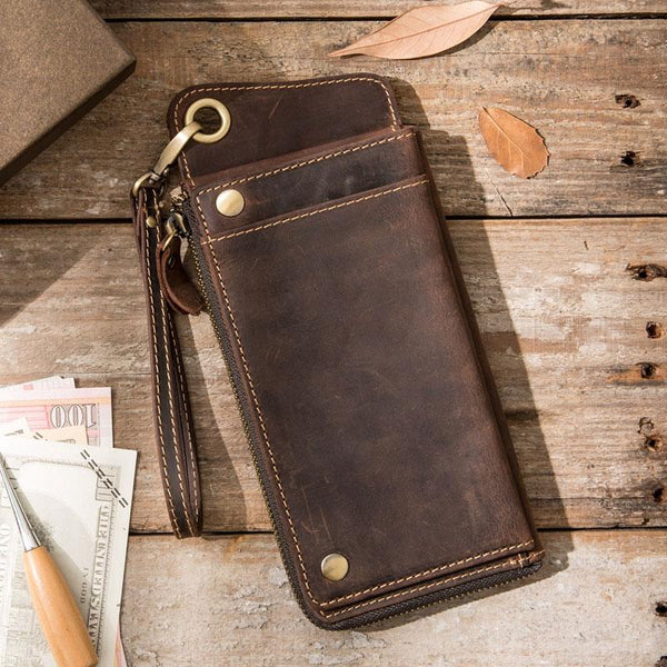 Vintage long Biker Chain Wallet Leather Mens Chain Wallet Long Wallet for Men
