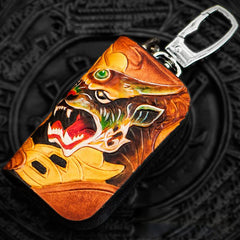 Handmade Leather Tooled Mens Cool Car Key Wallet Car Key Holder Car Key Case for Men