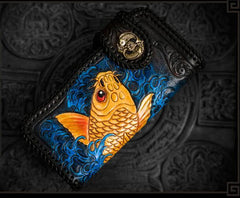 Handmade Leather Tooled Carp Mens Chain Biker Wallet Cool Leather Wallet Long Chain Wallets for Men