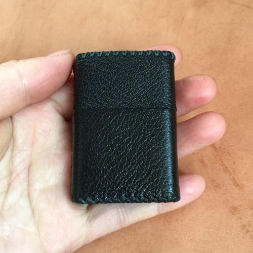 Cool Black Leather Mens Classic Zippo Lighter Case Handmade Standard Zippo Lighter Holder for Men