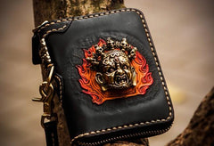 Handmade Mahākāla Leather Brown Small Biker Wallet Mens Cool Short Chain Wallet Trucker Wallet with Chain