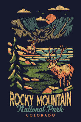 Artistically rendered poster of Rocky Mountain National Park, Colorado w/ mountains and two bucks