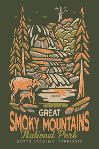 Artistically rendered poster of Great Smoky Mountains National Park, North Carolina & Tennessee. A doe and her young is in the foreground