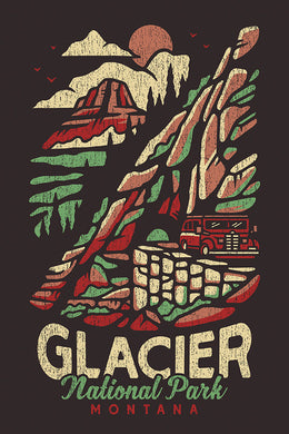 Artistically rendered poster of Glacier National Park, Montana