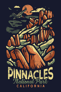 Artistically rendered poster of Pinnacles National Park, California, with a condor present