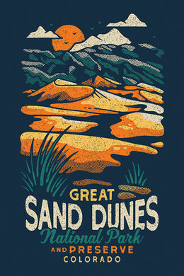 Artistically rendered poster of Great Sand Dunes National Park and Preserve, Colorado