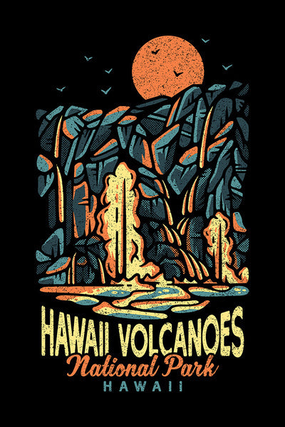 Artistically rendered poster of Hawaii Volcanoes National Park, Hawaii