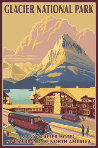 Poster depicting Glacier National Park - Many Glacier Hotel Switzerland of North America