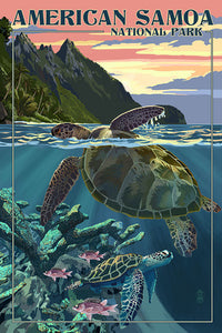 American Samoa National Park postcard with turtles and mountains. Hand drawn.