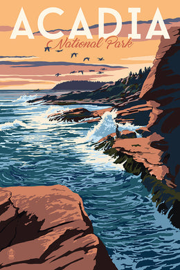 Poster of a seascape coast of Mount Desert Island, home to Maine's Acadia National Park and Bar Harbor, Maine.