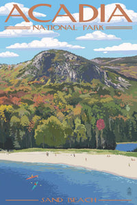 Artistic depiction of Sand Beach in Acadia National Park. Sand beach is nestled between rocky shores and Mount Desert Island, Maine