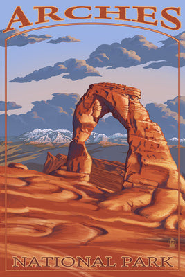 Delicate Arch postcard view, the world's most famous arch, Arches National Park, Utah
