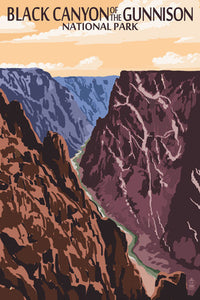 Black Canyon of the Gunnison National Park postcard, Colorado. Steep walls and little sunlight give this canyon it's name