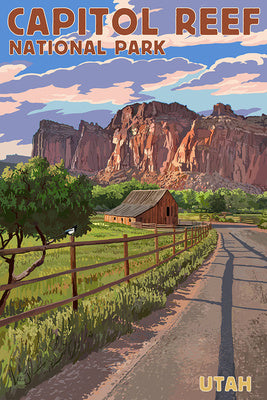 Capitol Reef National Park, Utah, with road, mountains, and barn