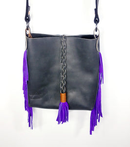 Charcoal Crossbody with Purple Fringe and Braid