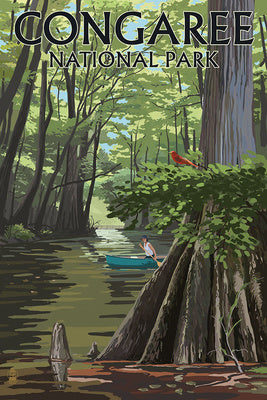 Congaree National Park, South Carolina. Swamp view w/ canoe and cardinal
