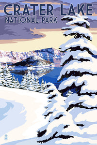 Crater Lake National Park, Oregon. Winter scene with Wizard Island