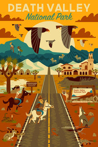 Death Valley National Park Poster in California. Geometric design